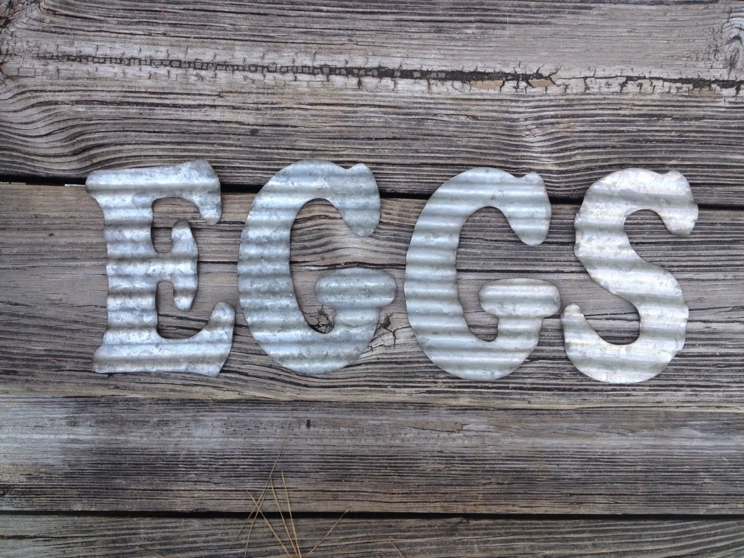 Galvanized Metal Letters Eggs Industrial Wall Decor Country