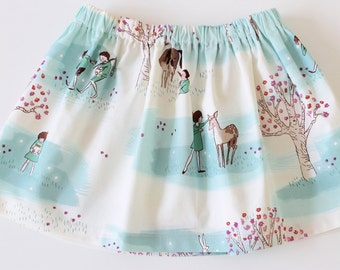 Toddler skirt, girls fairy tale skirt, twirly skirt, blue skirt, baby skirt, cotton skirt, designer fabric