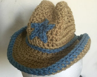 Crochet Baby Cowboy or Cowgirl Hat