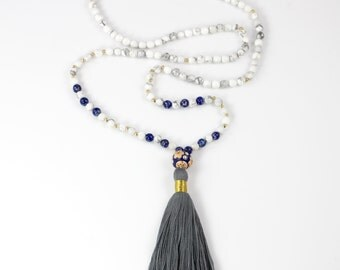 Long Tassel Beaded Necklace with White Howlite and Lapis Lazuli