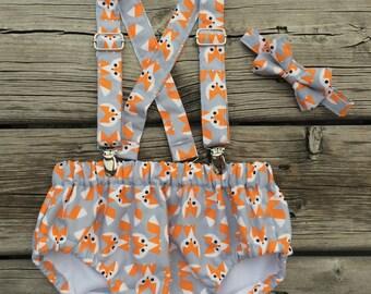Baby Boy Nautical Diaper Cover Set, Baby boy Bloomer, Diaper Cover - 3pc. Diaper Cover, Suspenders and Bowtie.