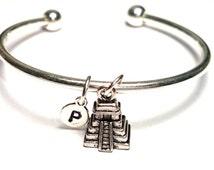 Aztec Bangle Bracelet, Adjustable Expandable Bangle Bracelet, Aztec Charm, Aztec Pendant, Aztec Jewelry, Maya Bangle, El Castillo, Incan