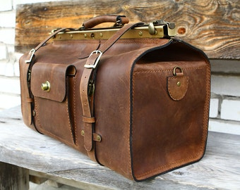 Huge doctor bag brown travel bag leather doctor bag genuine