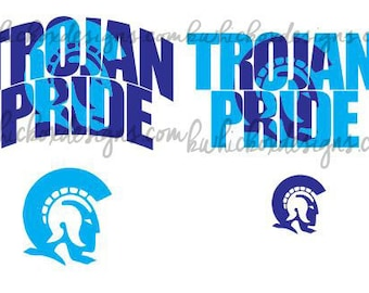 Trojan Pride Knockout Text,  SVG, SCAL,  DXF,  Cricut, Silhouette, Graphtec Cutting File, Trojan Svg, Knockout Svg