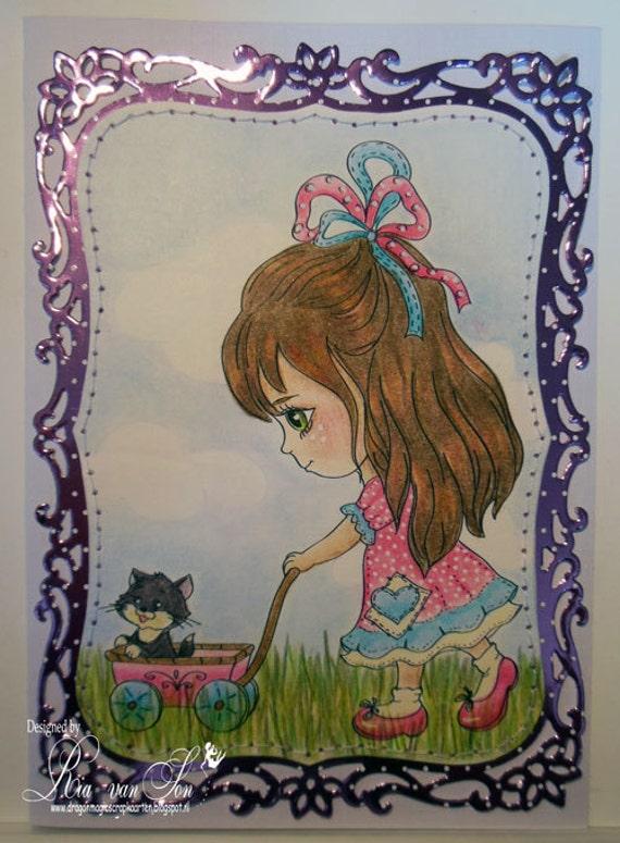 Digi Stamps, Scrapbooking printable, Digital stamp, Girl stamps, Cat stamps, Coloring pages, Doll stamps, Line art. Mollie