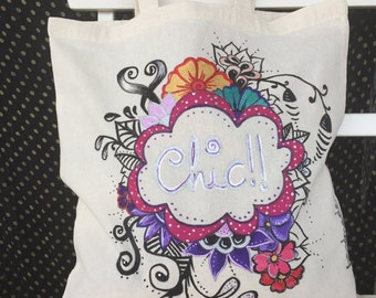 hand painted tote bag. chic. cotton tote bag. chic design in hand painted cloth bag. bag 100% cotton
