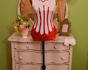 50s Majorette One Piece, 1950s Sequin Bodysuit, Theatre Leotard, XS/S, 50s Vintage Baton Suit, Red & White Leotard Suit, Vintage Body Suit