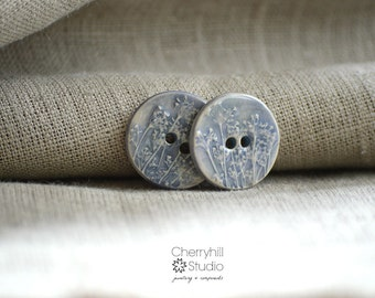 Large Coriander Buttons in Pale Lavender Blue, Ceramic Buttons, Round Ceramic Buttons, Sew on Buttons