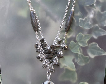 Silver and Pyrite Pendant Necklace