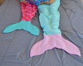 Two mermaid tail blankets sisters twins child kids mom daughter adult blanket birthday present  girl custom