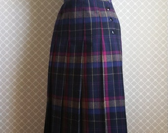 Vintage Plaid Wool Skirt by Tica - High Waisted and Fitted Preppy Skirt - Bright Pleated Skirt - Size XS/S