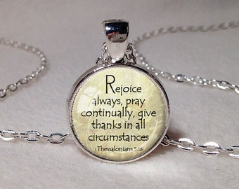REJOICE CHRISTIAN PENDANT 1 Thessalonians 5:16 Scripture Pendant Bible Verse Necklace Christian Gift for Christian Jewelry Scripture Jewelry
