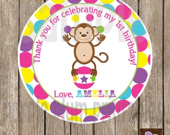 Circus Favor Tag - Circus Monkey - Circus Birthday Party - Pink Circus
