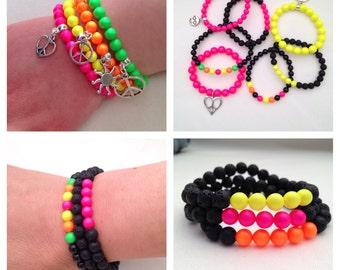 Neon bracelets, black and neon bracelet, neon charm bracelets, gift for kids, party bag fillers, party favours, party bag ideas