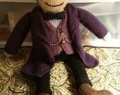 Large Doctor Who 11th Doctor (Matt Smith) Knit Plush Doll Amigurumi Purple Coat