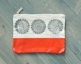 Large cosmetic bag, Zipper pouch, Makeup bag, Travel purse, Casual clutch, Pencil case, Block printed zipper pouch, Red and navy bag