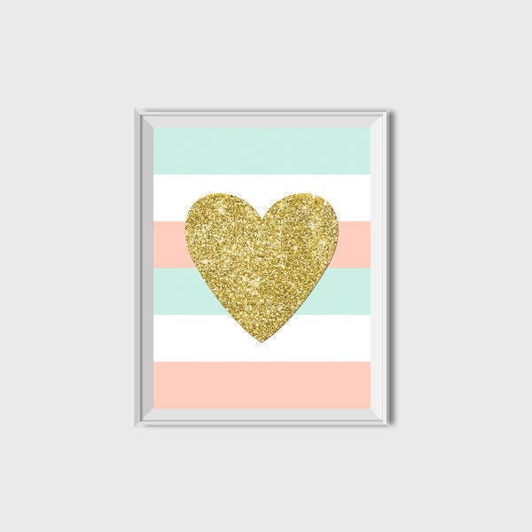 Pink Mint And Gold Nursery: Gold Glitter Heart Printable Pink Mint Gold Nursery Decor