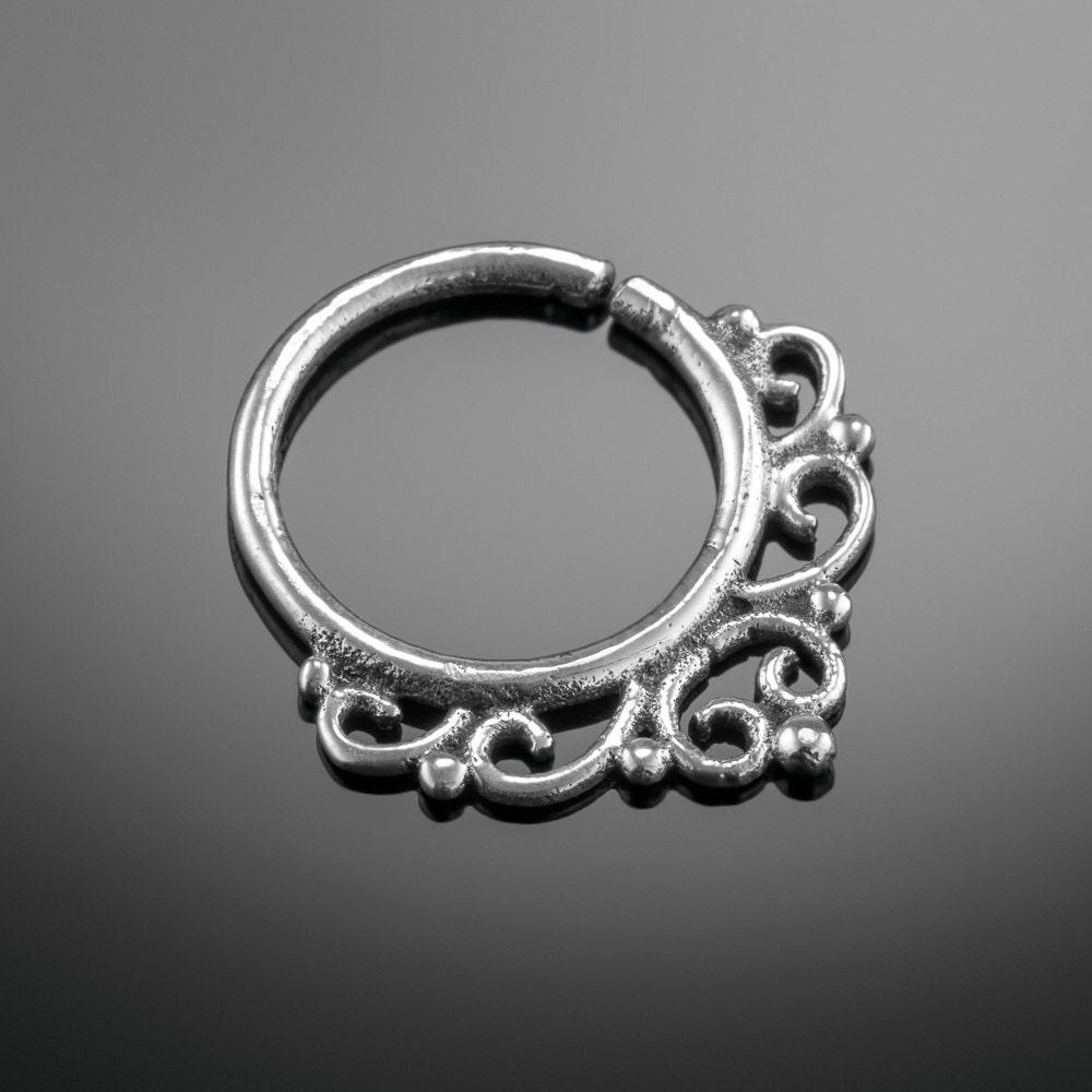 silver septum ring septum ring 18g nose ring septum
