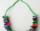 Unique statement jewelry , textile colorful necklace, unique gift for her,  original  bright bib necklace, handmade gifts , spring jewelry