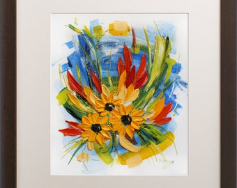 Sunflowers Wall Art Print, Giclee Print, Oil Painting Print, Colorful  Floral Wall Decor Part 62