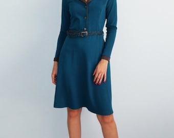 Blue jersey dress  Brown dress Long sleeves Кnitted dress