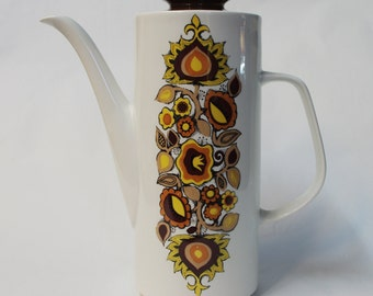 J&G Meakin Studio Bali tall coffee/tea pot, Alan Rogers 1968 retro. Brown/yellow flowers. Retro/vintage 60's. Made in England ceramic/china