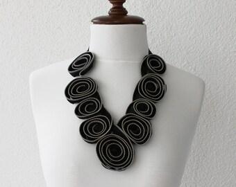 Black Zipper Necklace, Statement Necklace, Bib Statement,