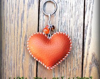 Heart key ring Orange brick