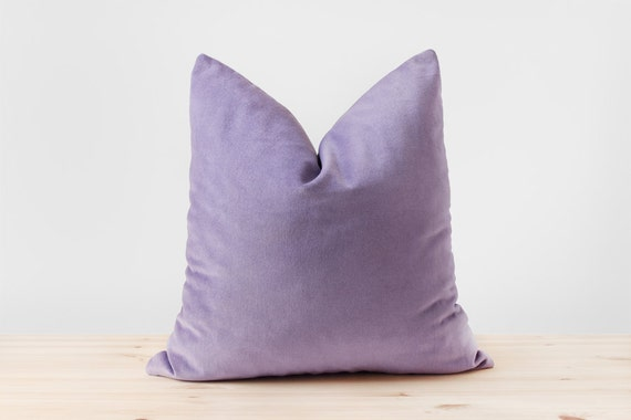 Lilac Purple Velvet Pillow Cover Pastel Purple Cushion By
