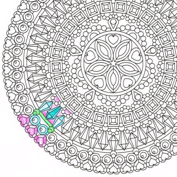 Mandala Coloring Page Opal Essence Instant By CandyHippie