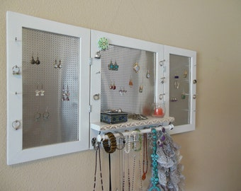 You Can Pick Your Color, Delux Jewelry Organizer, Jewelry Display, Wall Organizer, Necklace Holder, Earring Organizer