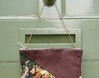 """Bag """"Let's"""" Handmade Leather and embroidery vintage."""