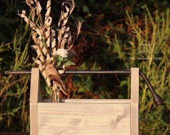 Handmade Wooden Tote, Wooden Tool Caddy, Garden Tote, Rustic Decor, Farmhouse Decor, Shabby-Chic Decor
