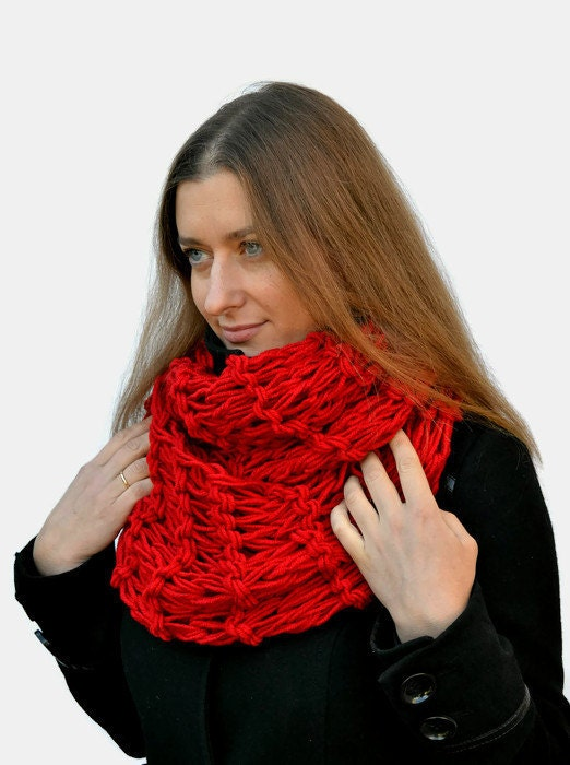 Chunky Scarf Knitted Red Scarf Circle Scarf By Skeinofwool