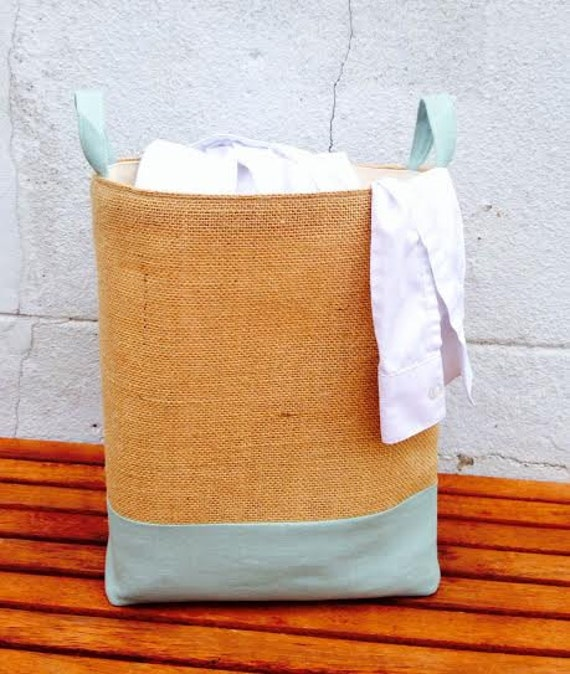 Duck Egg Hamper Large Jute Laundry Bag Hessian Burlap Natural