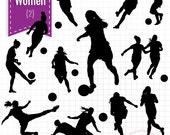 SUMMER SALE Soccer Women Sport Silhouettes, Instant Download, SVG eps png jpg