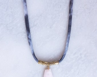 Pink Opal Pendant Necklace with Brass Beads
