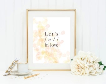 Autumn love print with yellow leaves Let's fall in love poster Fall colors Yellow orange red print
