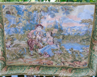 Vintage Woven Tapestry Wall Hanging Courtship Romantic Couple Paris Apt Shabby French Country Cottage Chic