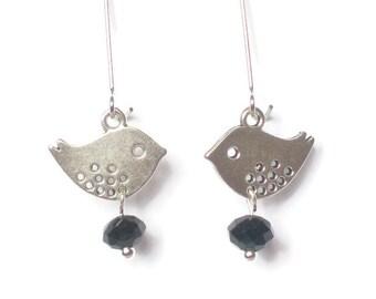 Bird Earrings, Charm Earrings, Silver Bird Earrings, Kidney Wire Earrings, Swarovski Crystal Earrings, Silver Black Silver Earrings