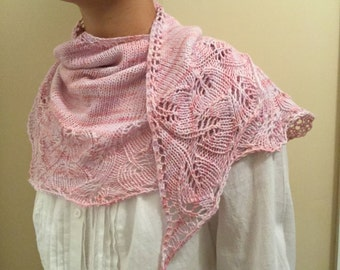 Hand knit shawl, shawlette, scarf, pale pink, merino wool