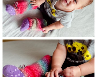 Baby Leg Warmers - Hand Knit Baby Leg Warmers Summer Berry Colourful Baby Leg Warmers Leggings Baby Shower Gift