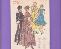 1950s Drop Waist, Square Dance Dress Costume puffy sleeve/ Butterick 5939 Early American, Ruffled, full flared skirt Sewing pattern/ Size 16