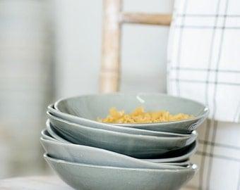 Set Of 4 Pasta Bowls, Gray Bowl, Ceramic Serving Bowl,Soup Bowl,Salad Plate,Housewarming Gift