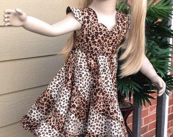 Wild Animal Cheetha, Leopard Swirl Twirl Dress. Casual Pageant wear. Size 4