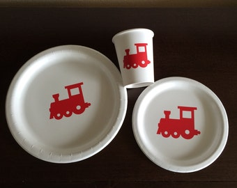 Locomotive Birthday Party Pack - Train Plates - Conductor Birthday - Choo Choo Party - Train Party Supplies - Transport Baby Shower - Cups