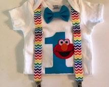 Custom Elmo Bow Tie and Suspender Onesie