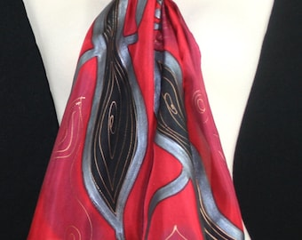 Red Silk Scarf. Burgundy Hand Painted Silk Shawl. Black Handmade Silk Scarf MERLOT KISS. Size 11x60. Birthday, Bridesmaid Gift. Gift-Wrapped