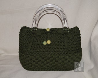 Bag in dark green cotton ribbon