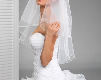2 Tier Simple Bridal Wedding Veil with cording edge in white or ivory